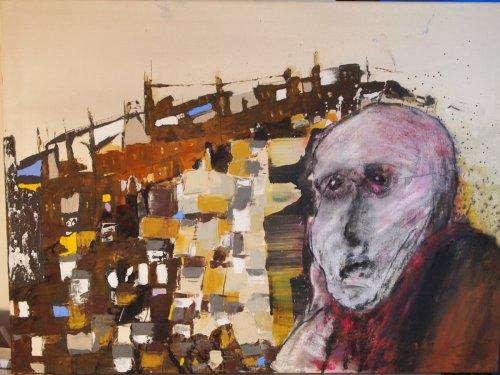 Der Raucher - Mixed Media On Canvas - 100 x 80 cm