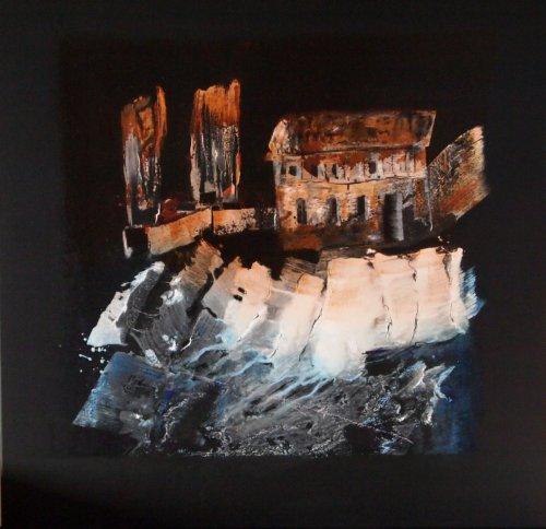Mystical House 2 - Mischtechnik auf Leinen - 80 x 80 cm
